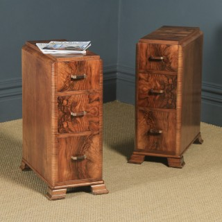 Antique Pair of English Art Deco Figured Walnut Bedside Cabinet Chests Tables Nightstands (Circa 1930)