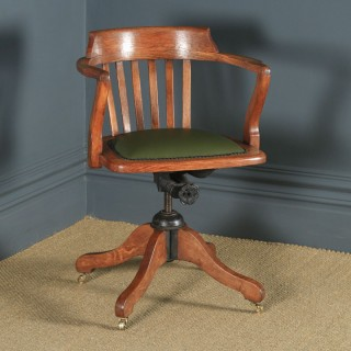 Antique English Edwardian Oak & Green Leather Revolving Office Desk Arm Chair (Circa 1910)