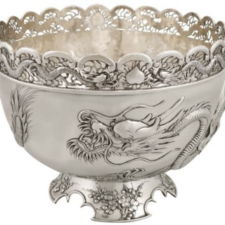 Chinese Export Silver Dragon Bowl - Antique Circa 1900