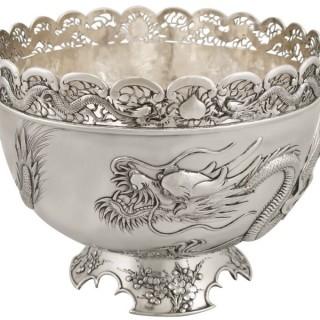 Chinese Export Silver Dragon Bowl - Antique Circa 1900