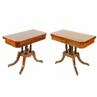 Two Rosewood & Satinwood Card Tables