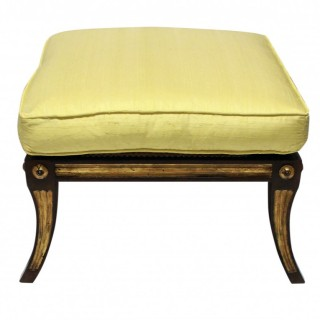 A SOLID ROSEWOOD & PARCEL GILT STOOL