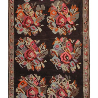 Handwoven Floral Karabagh Kilim, Traditional Azerbaijan Rug - 200x370cm
