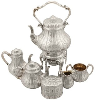 Sterling Silver Six Piece Bachelor Tea and Coffee Service - Antique Victorian (1864-1875)