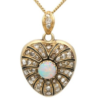 0.40ct Opal and 1.43ct Diamond, 14ct Yellow Gold Locket - Antique Victorian