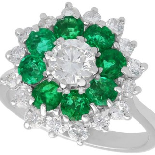 1.23 ct Diamond and 0.98 ct Emerald , 18 ct White Gold Dress Ring - Vintage Circa 1970