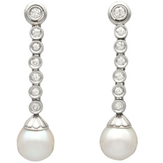 1.10ct Diamond and Cultured Pearl, Platinum and 9ct White Gold Drop Earrings - Vintage Circa 1950