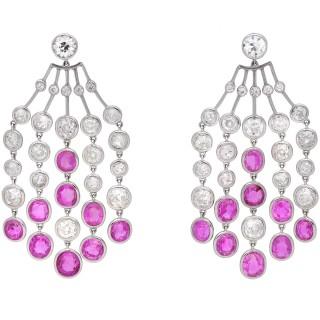 Edwardian Burmese pink sapphire and diamond tassel earrings, circa 1915.