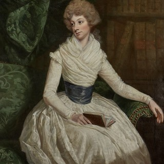 Thomas Beach RA (Dorset 1738-1806) Maria Anne Penruddocke with a book in her library