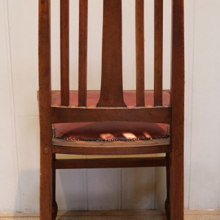 Set of Six Solid Oak Arts And Crafts Dining Chairs