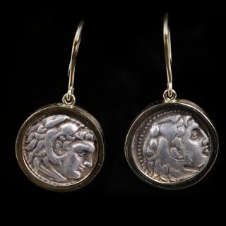 Pair of Alexander the Great Drachm Earrings