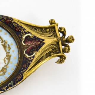 Antique French Ormolu & Champleve Enamel Pin Tray 19th Century