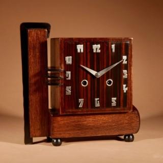 A Very Rare Architectural Dutch Art deco Oak And Coromandel Mantel Clock.
