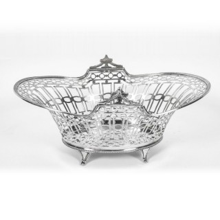 Antique English Edward VII Sterling Silver Fruit Bread Basket London 1909