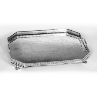 Antique Edwardian Silver Plated Gallery Tray Atkins Brothers Circa 19th Century