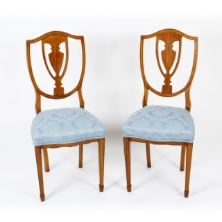 Antique Pair Victorian Satinwood Shield Back Desk Chairs c.1880 19th Century