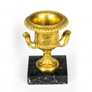Antique Pair Italian Grand Tour Gilt Bronze Classical Urns C1860 19th C