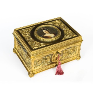 Antique French Palais Royale gilded bronze jewellery casket, C 1820 19th C