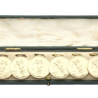 Set of Six 9ct Yellow Gold Golf Buttons - Antique Circa 1910