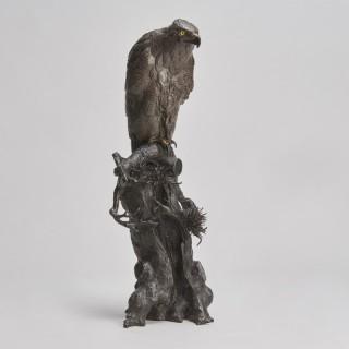 A masterful Bronze Okimono of a hawk (Japanese Meiji-era)