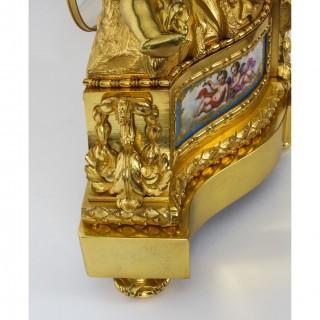 Antique French Sevres Porcelain Ormolu Clock by Raingo Freres c.1850