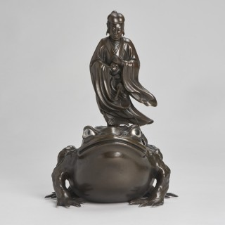 A magnificent Bronze Okimono of Jiraiya standing atop a toad (Japanese, Meiji-era)