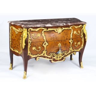 Antique Louis XV Revival Ormolu Mounted Marquetry Commode C1920