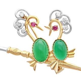 2.71ct Chrysoprase, 0.42ct Diamond and Ruby, 18ct Yellow Gold Brooch - Vintage French Circa 1960