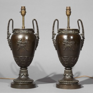 Pair of Antique Grand Tour Bronze Table Lamps