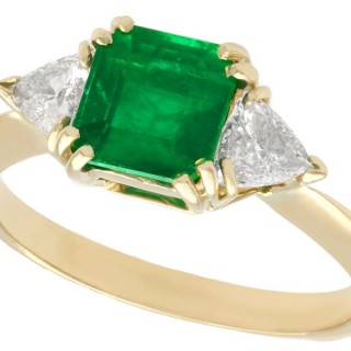 1.65ct Emerald and 0.80ct Diamond, 18ct Yellow Gold Trilogy Ring - Vintage French Circa 1980