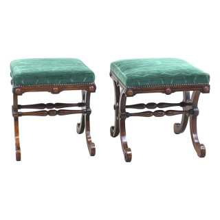 19th Century Pair Of Rosewood X Frame Stools