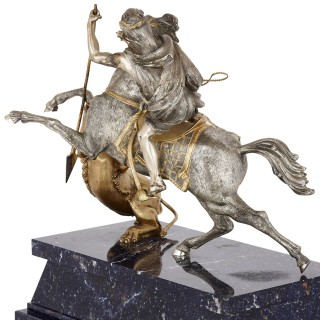 Mid-Century Silver and Silver-Gilt Animalier Sculpture