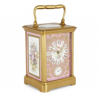 Rococo Style Sevres Style Porcelain and Ormolu Carriage Clock