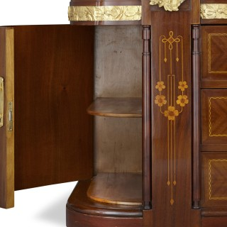 Antique Aesthetic Style Marquetry and Gilt Bronze Dressing Table