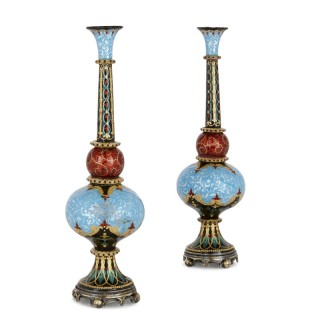 Pair of Antique French Arabesque Enamel Vases for Turkish Export