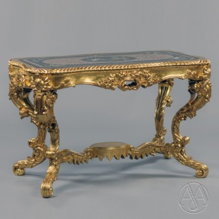 A Fine Italian Carved Giltwood Low Centre Table with A Pietre Dure Marble Top