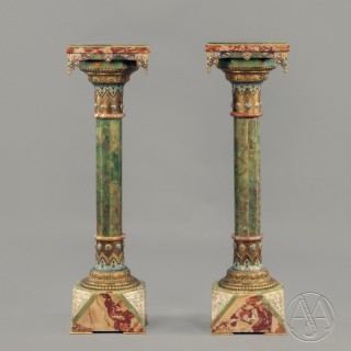 A Pair of Gilt-Bronze and Champlevé Enamel Mounted Onyx  Pedestals