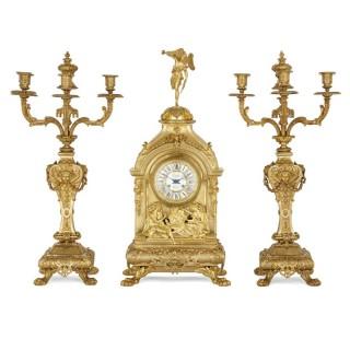 Antique Eclectic Style Gilt Bronze Clock Set by Henri Picard and Denière et Fils