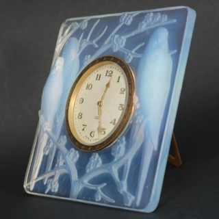 Rene Lalique Opalescent Glass Inseparables Clock