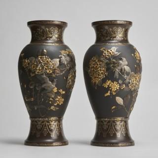 An impressive, large pair of Bronze and multi metal Meiji-era vases