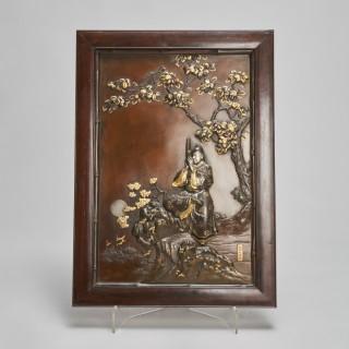 An exceptional Japanese Meiji-era Bronze and multi-metal decorative plaque by Fukuda Michiharu