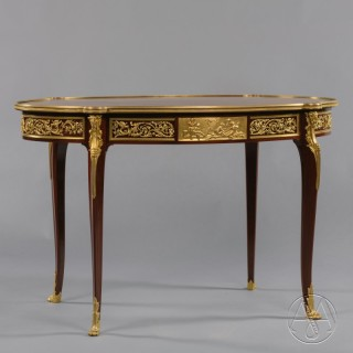 A Fine Louis XVI Style Gilt-Bronze Mounted and Parquetry Inlaid Centre Table
