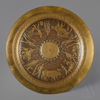 Neo-Grec Gilt and Patinated Bronze Tazza, Designed by Ferdinand Levillain