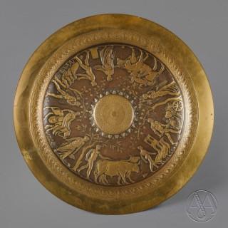 Neo-Grec Gilt and Patinated Bronze Tazza, Designed by Ferdinand Levillain