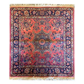 Antique Persian Sarough Rug, Traditional Pink Wool Rug- 97x103cm