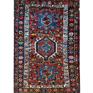 Handmade Persian Gharajeh Rug, Small Traditional Wool Carpet- 60x91cm