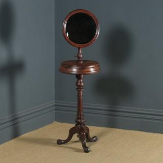 Antique English Victorian Mahogany Adjustable Barbers Shaving Stand & Vanity Mirror (Circa 1860)