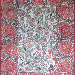A panel of block printed cotton