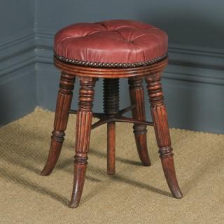 Antique English Regency Oak & Leather Revolving Adjustable Piano Music Stool (Circa 1830)