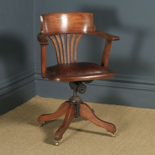 Antique English Edwardian Oak & Brown Leather Revolving Office Desk Arm Chair (Circa 1910)